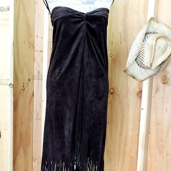 faux fringed leather dress / size M / strapless Boho western tribal fringe dress / 80s faux suede dress