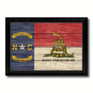 Gadsden Don't Tread On Me North Carolina State Military Flag Texture Canvas Print with Black Picture Frame Gift Ideas Home Decor Wall Art