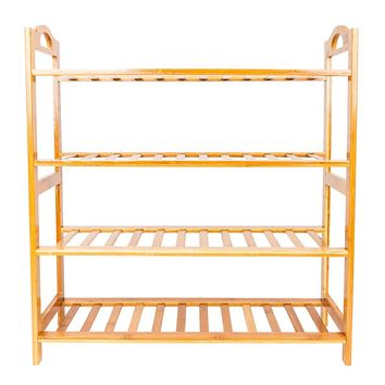 Concise 12-Batten 4 Tiers Bamboo Shoe Rack Wood Color