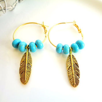 Gold Plate Hoop Earrings w Turquoise Beads and Feather Charms in Gold Tone, Native American Inspired Bohemian Boho Mother's Day Gift for Her