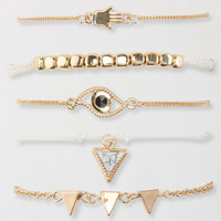 Hamsa Eye Sliding Knot & Lobster Clasp Bracelet 5-Pack