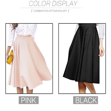 Simple Solid Color Empire Peach Pink/Black Pleats A Line Ladies Flared High Waist Midi Skirt For Women