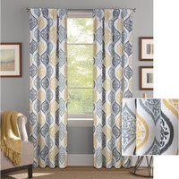 Better Homes and Gardens Damask Ogee Curtain Panel Gray/Gold 52X84