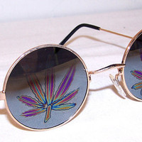 VTG 90s Pot Leaf Mirror Round Sunglasses