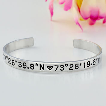 Latitude Longitude Coordinates Bracelet - Hand Stamped Sterling Silver Cuff Bracelet, Meaningful Personalized Gift, GPS Location, Solid .925 Jewelry