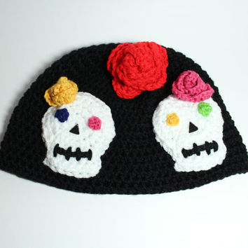 Sugar Skull beanie- Women's Skull crochet beanie- Day of the Dead inspired skull hat.