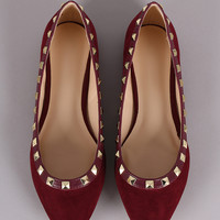 Wild Diva Lounge Suede Pyramid Studded Pointy Toe Ballet Flat