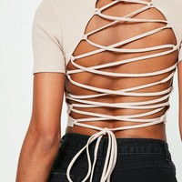 Missguided - Nude Lace Up Back Crop Top
