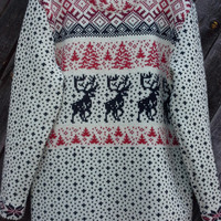 Reindeer Print Women's Pullover Christmas Sweater Scandinavian Print 100% Pure Wool Ladies Jumper Winter Fashion Snowflake Pattern