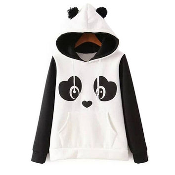 Lovely Panda Print Fleece Ladies Hoodies [6400317060]