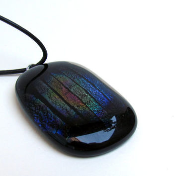 Fused Glass Pendant, Black and Dichroic Glass, Large Pendant, Rainbow Pendant, Fused Glass, Dichro Pendant, Black Glass Pendant
