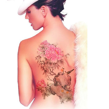 Peony flower Large temporary tattoos Shoulder Lower Back Waterproof temporary tattoos sticker sexy women