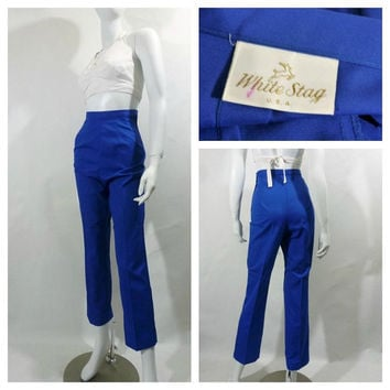 1960's cobalt blue cigarette pants, small pants, blue trousers, vintage slacks, high waist pants, rockabilly, VLV, white stag, NOS