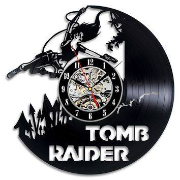 Round Hollow Creative CD Record Hanging Wall Clock Tomb Raider Great Gift Antique Vinyl Record LED Clock Classic Art Decor