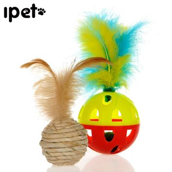 HOOPET Plastic Funny Pet Chew Dog Toy Kitten Cat Playing Ball Hollow Toys Sound Squeak Cheap Feather Tweezers Product