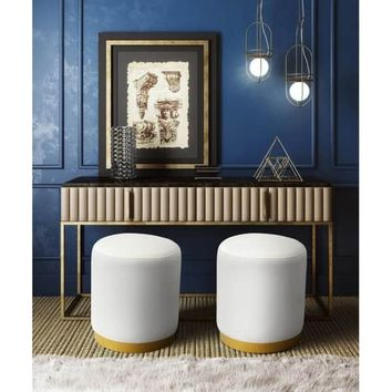 Opal Cream Velvet Ottoman | Overstock.com Shopping - The Best Deals on Ottomans