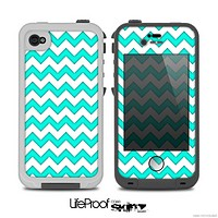The Aqua Blue & White Chevron Pattern Skin for the iPhone 4-4s LifeProof Case
