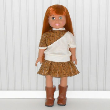 18 inch Girl Doll Clothes Brown Snakesin Suede Skater Skirt and Beige Top American Doll Clothes