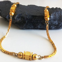 Deep Gold Geometrical Necklace