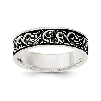 Sterling Silver Polished and Antiqued Filigree Women's Ring