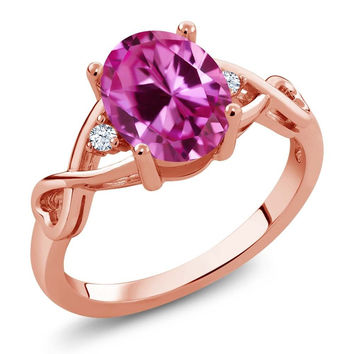 2.45 Ct Oval Pink Created Sapphire White Topaz 18K Rose Gold Plated Silver Ring
