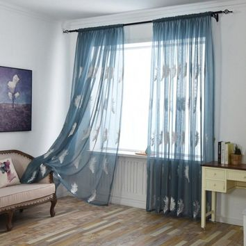 New White/Blue Feather Embroidered Voile Curtains for Living Room the Bedroom Sheer Curtains Tulle Window Curtains Fabric Drapes