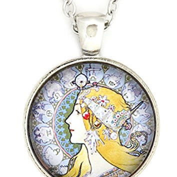 Art Nouveau Zodiac Woman Necklace Silver Tone NV17 Astrology Motif Pendant Fashion Jewelry