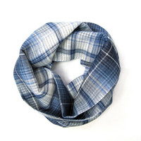 Blue Plaid Scarf Toddler Scarf Girl Scarf Cotton Plaid Scarf Child Infinity Scarf Boy Scarf Unisex Scarf Blue White Gift Idea Ready to Ship