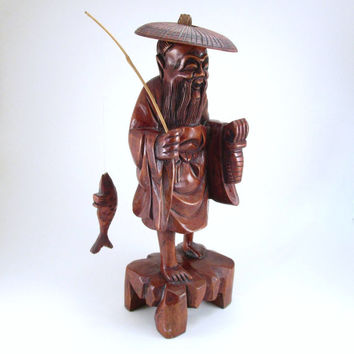 Vintage Tall Carved Wood Asian Fisherman, Wooden Fisherman Figurine with Fish and Fishing Pole, Wood Carved Asian Folk Art, Lake Cabin Decor