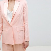 ASOS DESIGN Petite tailored satin contrast blazer at asos.com