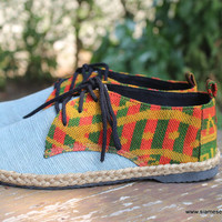 Vegan Oxfords Men's Shoes In Natural Hemp & Colorful Laos Tribal Embroidery