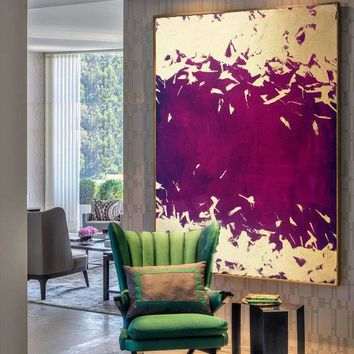 Indigo Purple Painting Gold Leaf Painting Acrylic Painting Oil Painting on Canvas Art Abstract Canvas Painting Large Original Oversize