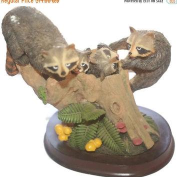 CIJ SALE Large Raccoon Figurine, Wooden Base, Country Decor, Home Decor, Vintage Statue