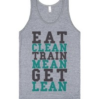 Eat Clean Train Mean Get Lean-Unisex Athletic Grey Tank