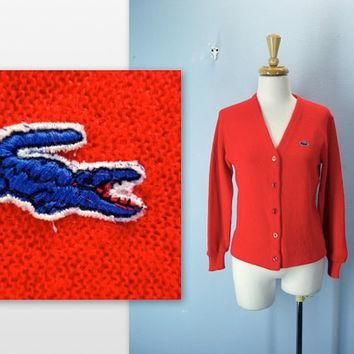Vintage Lacoste Sweater / 1960s Red Cardigan by SnapVintage