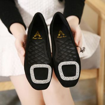 DCKL9 Korean Square Toe Rhinestone Flats Shoes [6044948801]