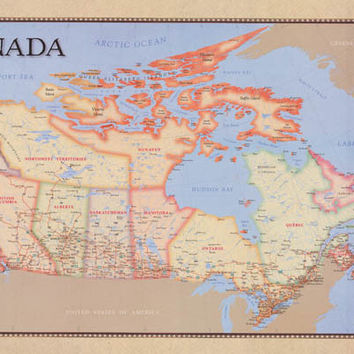 Political Map of Canada Education Poster 22x34