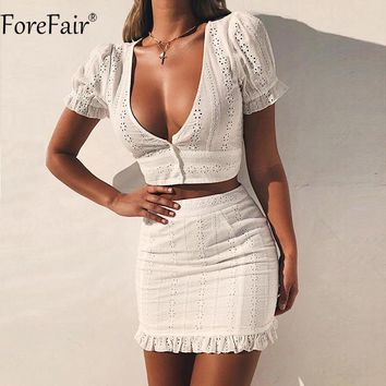 ForeFair V Neck Sexy Bodycon Dress Women Bubble Sleeve Hollow Out Two Piece Dress White Summer Dress Women