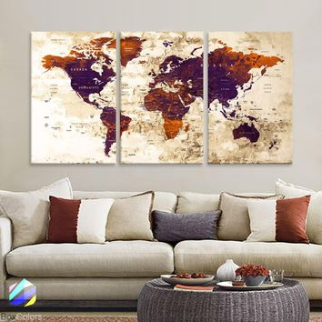 "LARGE 30""x 60"" 3 panels 30x20 Ea Art Canvas Print Watercolor Old Map World Push Pin Travel M1817"