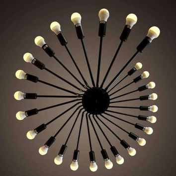 26 Heads Edison Black Big Pendant Ceiling Lamp E27 LED Chandelier  Lofe Cafe Bar