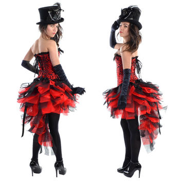 Black Red Designer Burlesque Dress up Costume Outfit