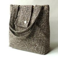 Amy cashmerewool Brown barleycorn weave French by ikabags on Etsy