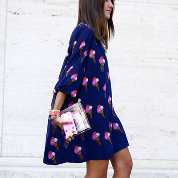 Ice Cream Print Straight Dress