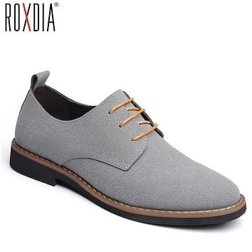 ROXDIA brand fashion flock men dress shoes flats oxford man casual shoes lace up for work male loafers plus size 39-48 RXM116