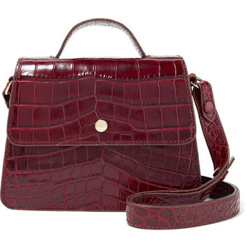 Elizabeth and James - Eloise mini suede-trimmed croc-effect leather shoulder bag