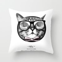 The cat with glasses Throw Pillow by Julien Kaltnecker