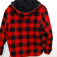 90s Grunge Red Buffalo Plaid Flannel Wool Hooded Pullover Thick Oversized Sweater Jacket