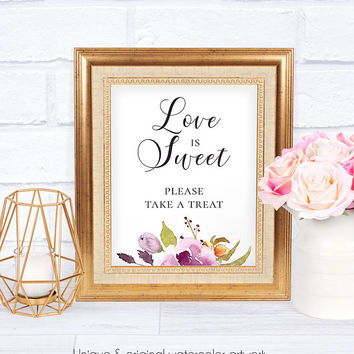 Marsala Love is Sweet Sign, Floral Watercolor, Floral Wedding Sign, Wedding Reception, Wedding Accessory, Gifts Sign, Take a Treat