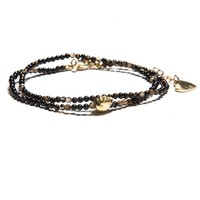 BLACK BEADED BRACELET WITH GOLD SKULL