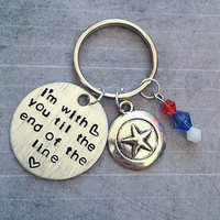 I'm With You Til The End Of The Line Keychain - Fandom Keyrings - Comic Book Accessories - Superhero Accessories - Steve Rogers Inspired